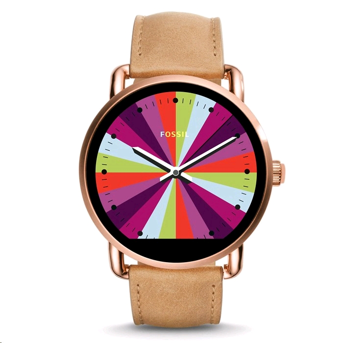 Fossil Q Wander Smartwatch 45mm Rose Gold Case Light Brown Leather