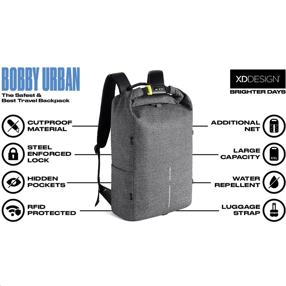 Xd Design Bobby Urban Anti Theft Cut Proof Backpack Grey