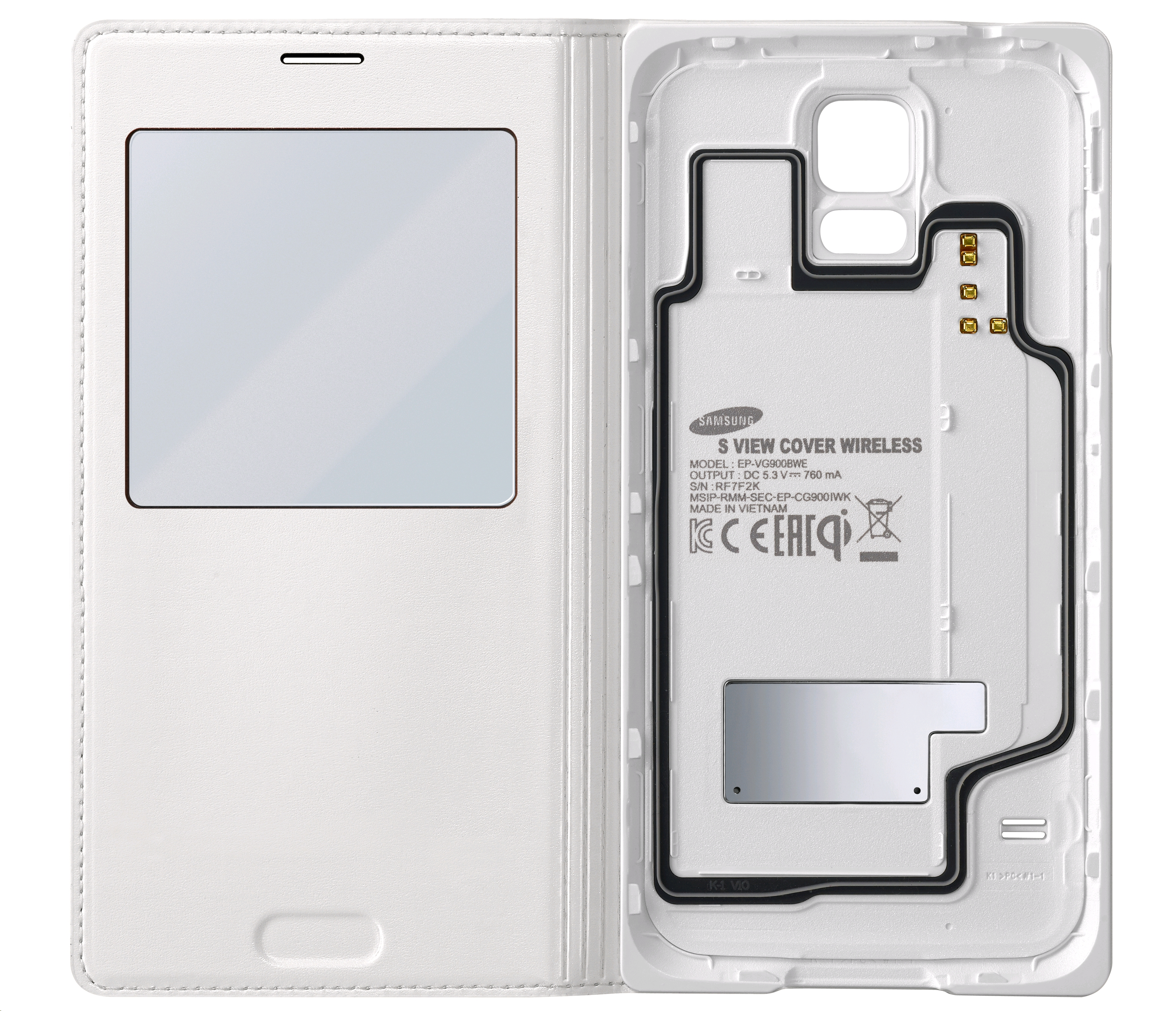low priced 40cec 20678 Samsung S-View Wireless Charging Cover for Galaxy S5 White