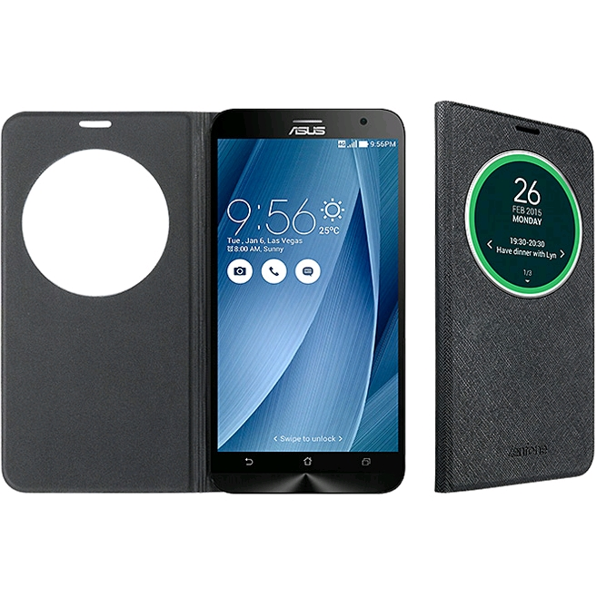 100% authentic 50b77 018b0 ASUS Zenfone 2 View Flip Cover Deluxe for ZE551ML with NFC, Black