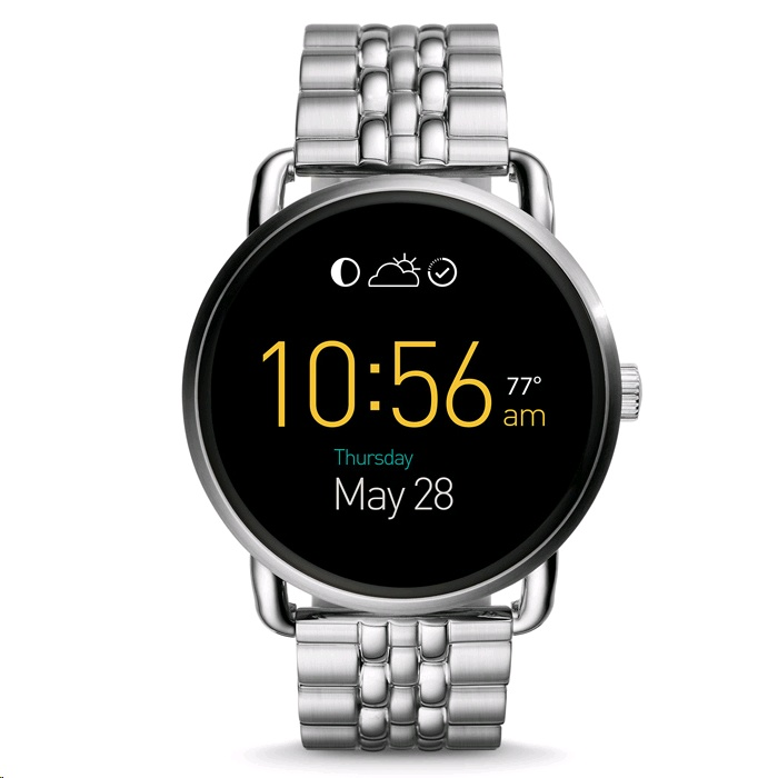 fossil q wander smartwatch 45mm silver case metal band expansys