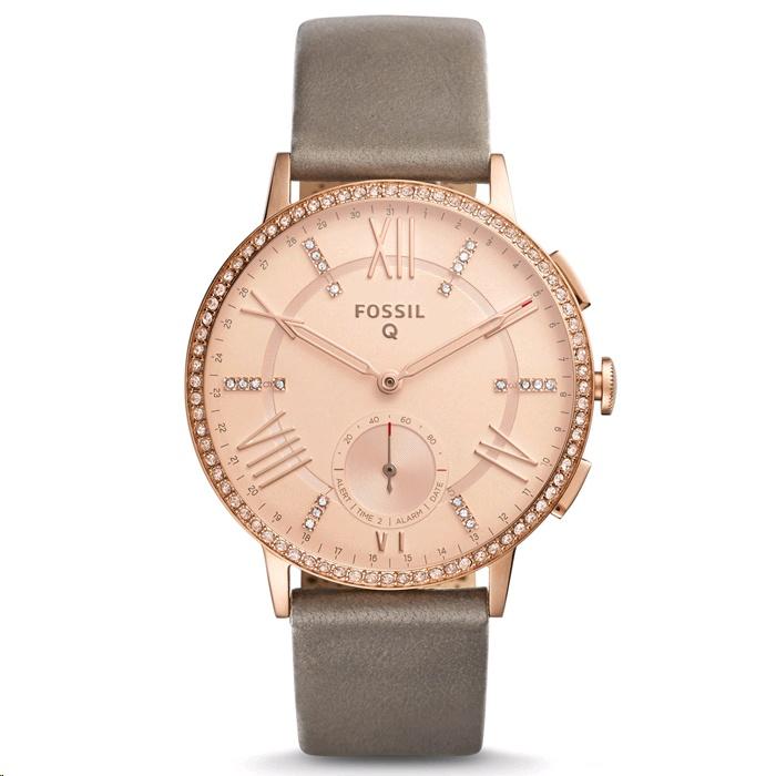 Fossil Q Gazer Hybrid Smartwatch 41mm Rose Gold Case Gray Leather
