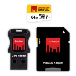 Strontium NITRO 566X MicroSDXC Card 3-in-1 64GB, 85MB/s, for Tablets & Smartphones