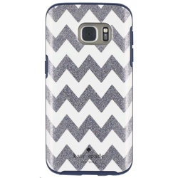 Incipio Kate Spade Hybrid Hardshell Case for Galaxy S7 (GP-G930ICCPUAC, Chevron Multi Glitter/Navy)