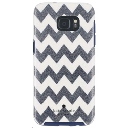 Incipio Kate Spade Hybrid Hardshell Case for Galaxy S7 Edge (GP-G935ICCPUAD, Chevron Multi Glitter/Cream/Navy)