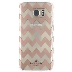Incipio Kate Spade Hybrid Hardshell Case for Galaxy S7edge (GP-G935ICCPUAB, Chevron Rose Gold/Clear)