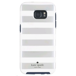 Incipio Kate Spade Hybrid Hardshell Case for Galaxy S7edge (GP-G935ICCPUAE, Candy Stripe Silver/Cream/Navy)