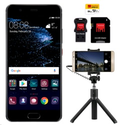 Huawei P10 & 64GB SD Card & Selfie Tripod Graphite Black, ES
