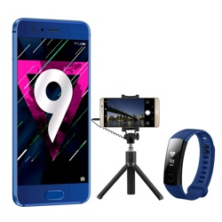 Honor 9 with Tripod Selfie Stick + Free Blue Band 3 Sapphire Blue, 64GB, WEU
