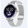 Tec Sante Blood Pressure & Menstrual Reminder Smart Watch SY12  for Ladies (Silver Case with Steel Strap)