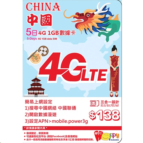 Happy Telecom China 5-Day 1GB Data Prepaid SIM Card