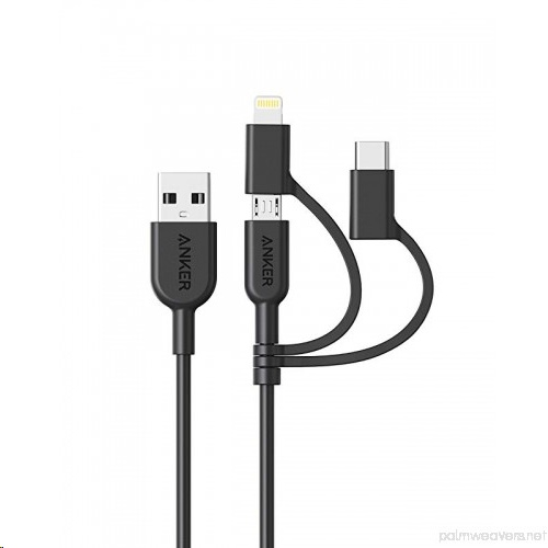 Anker PowerLine II Lightning, Type-C, Micro USB 3-in-1 Cable (0.9M)