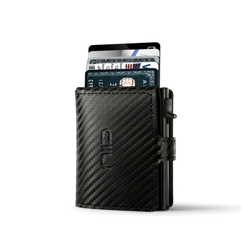 NIID RFID Slide Mini Wallet, Carbon Fiber Genuine Leather