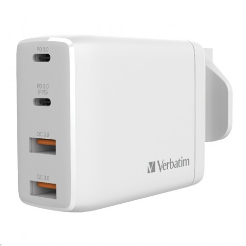 Verbatim 4 Port 100W GAN PD 3.0 X 2 and QC 3.0 X 2 USB Hub Charger